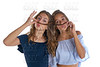 Teen best friends girls fun hair moustache