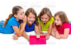 sisters kid girls with tech tablet pc playing happy