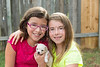 kid girls playing with puppy pet chihuahua
