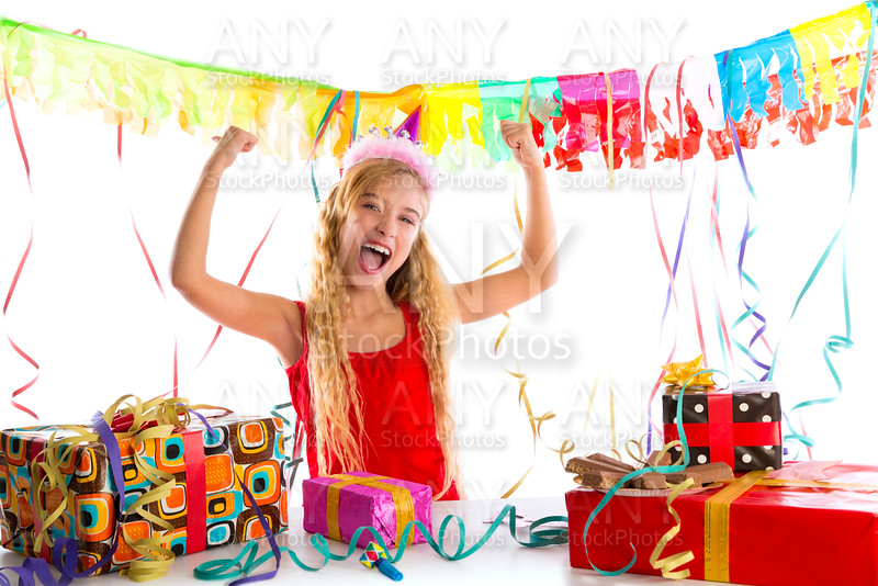 Party blond kid girl happy with many presents