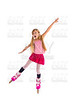 blond pigtails roller skate girl full length on white