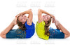twin kid sisters symmetrical flexible playing happy
