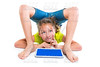 contortionist kid girl thinking gesture with tablet pc