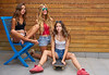 Teenager best friend girls group and skate