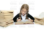 little blond student school girl reading old book
