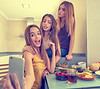 teen girls best friends selfie photo having lunch