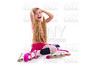 blond pigtails roller skate girl sitting happy