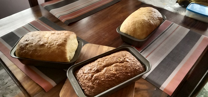 Fresh baked wheat bread and Banana bread