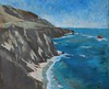 """BIG SUR CLIFFS EDGE""-Winter, 48x54 painting on canvas"