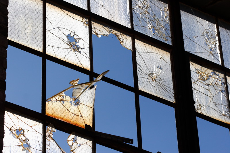 Broken Window in Abandoned Downtown Building Statesville NC