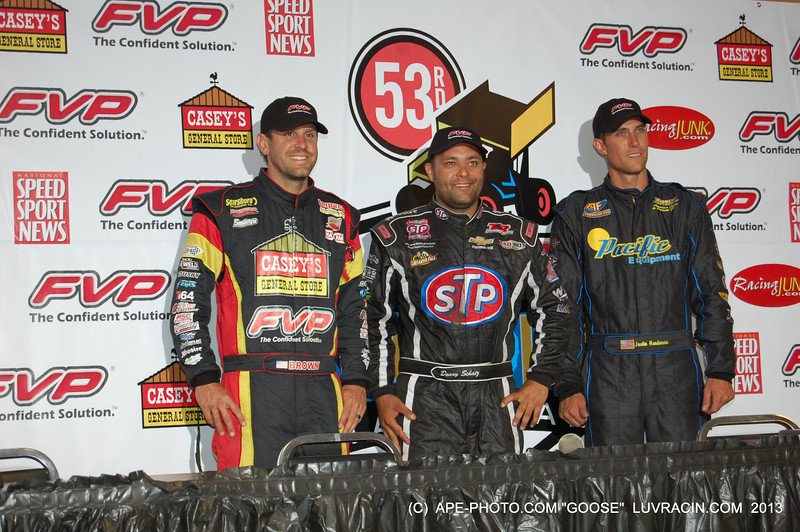 BRIAN BROWN P-2 DONNY SCHATZ WINNER 53 KNOXVILLE NATIONALS, JUSTIN HENDERSON THIRD