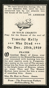 In Memoriam card for Timothy Kelly, grandma daly's father