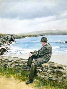 Grandpa Daly sitting on seawall in Ireland