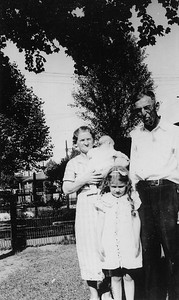 Grandma and Grandpa Blechle with Uncle Bill and mom (Frances Farrell)