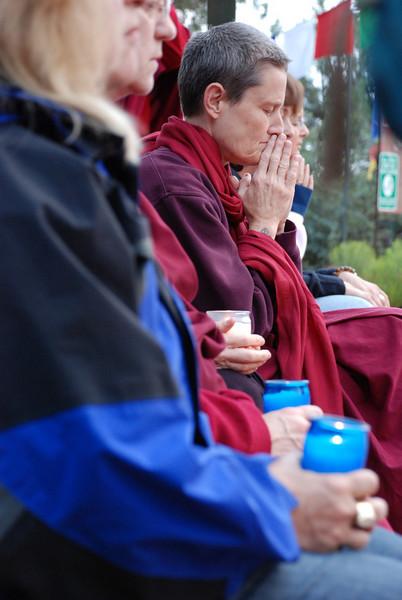 Prayers and candle offerings at Amitabha Stupa, Sedona, Arizona, by Ani Dawa