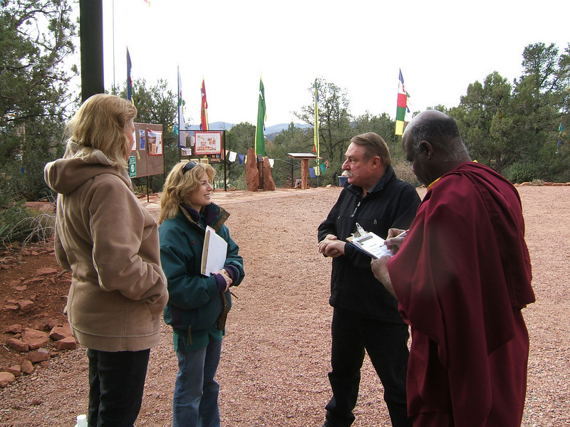 "Shelley Sims and Kamil greet the crew shooting a local TV piece on the award from ""Keep Sedona Beautiful"", by Ani Dawa"