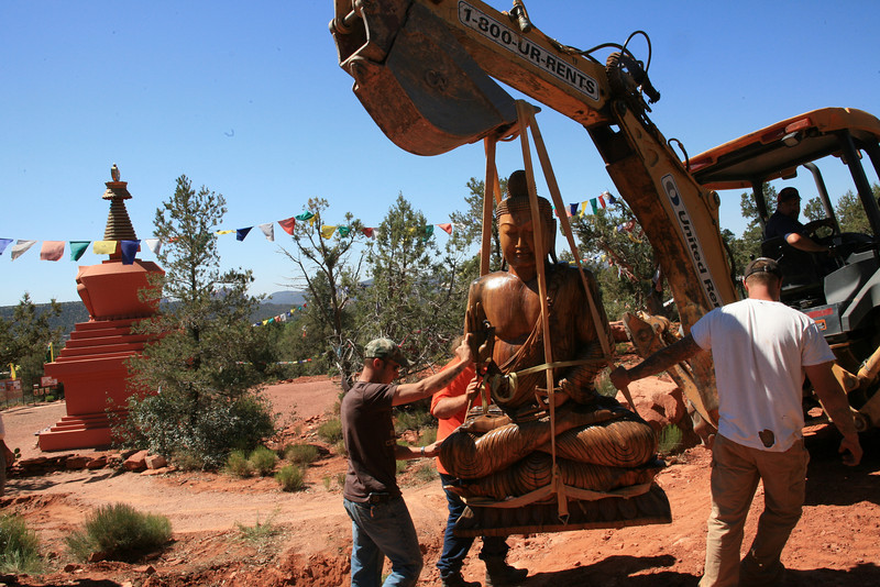WM-200-77 Moving Buddha to new location at Amitabha Stupa - by Wib Middleton