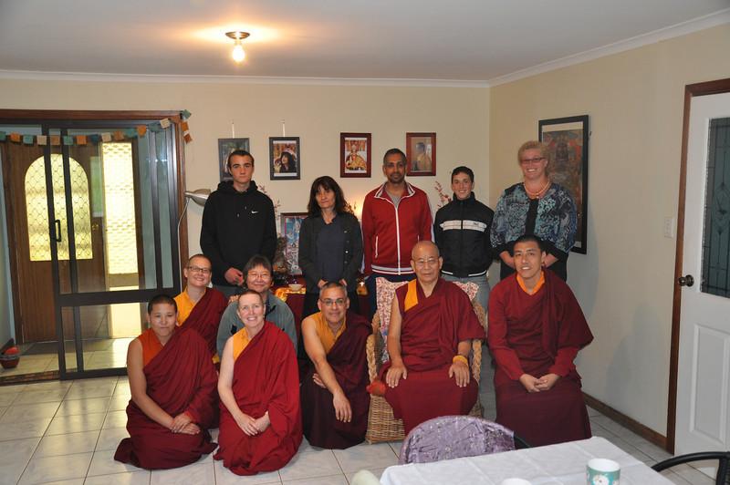 From left: Front row; Ani Dawa, Ani Wangmo, Lungtog, Khen Rinpoche, Khenpo Sonam. Back row; Ani Sherab, Zac, Min Li, Christine, Fehraz, Shalome, Kerry.