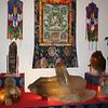 Crystals at Kunzang Palyul Chöling, Mr. Wonderful with friends adorning the Khandro Thug Thig thanka.