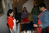 Puneet and friends silkscreening prayer flags<br /> © KPC