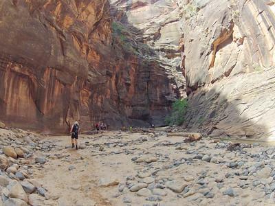David Bridges, hiking the Narrows.