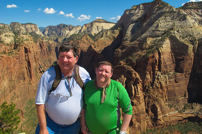 Glenn Gregory and Chris Hatcher, Hiking Angels Landing in Zion National Park.