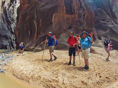 Mike Pertle, Tony Sarzotti and Glenn Gregory, hiking the Narrows.