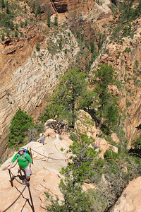 Chris Hatcher, Hiking Angels Landing in Zion National Park.