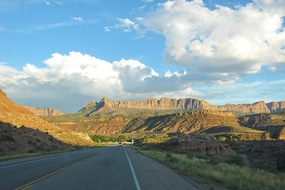 Driving into Zion National Park