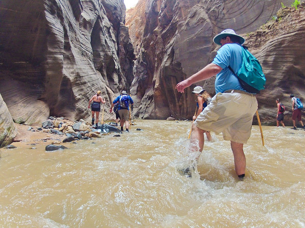 Glenn Gregory, hiking the Narrows.