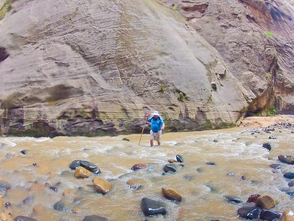 Glenn Gregory, hiking the Narrows.