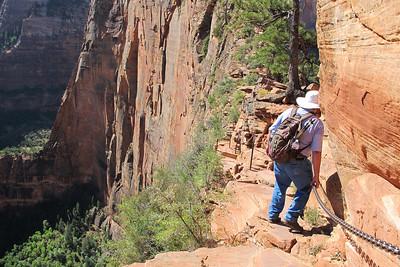 Glenn Gregory, Hiking Angels Landing in Zion National Park.