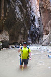 Chris Hatcher, hiking the Narrows.