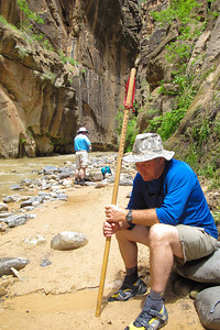 Mike Pertle, hiking the Narrows.