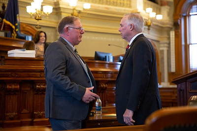 Rep. Dan Hawkins (left) incoming majority leader and outgoing majority leader Rep. Don Hineman (right)