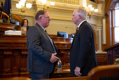 Rep. Dan Hawkins (left) incoming majority leader and outgoing majority leader Rep. Don Hineman (right)