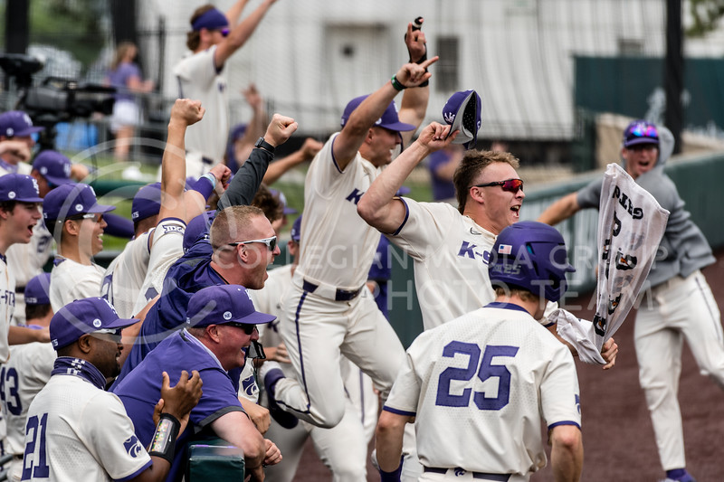 The Wildcat's bench celebrates after K-State's, Chad Shade, homered in the 5th inning to put the Wildcat's up 14-1 against Texas Southern University at Tointon Family Stadium, Manhattan KS. 5/2/21. (Dylan Connell | Collegian Media Group)