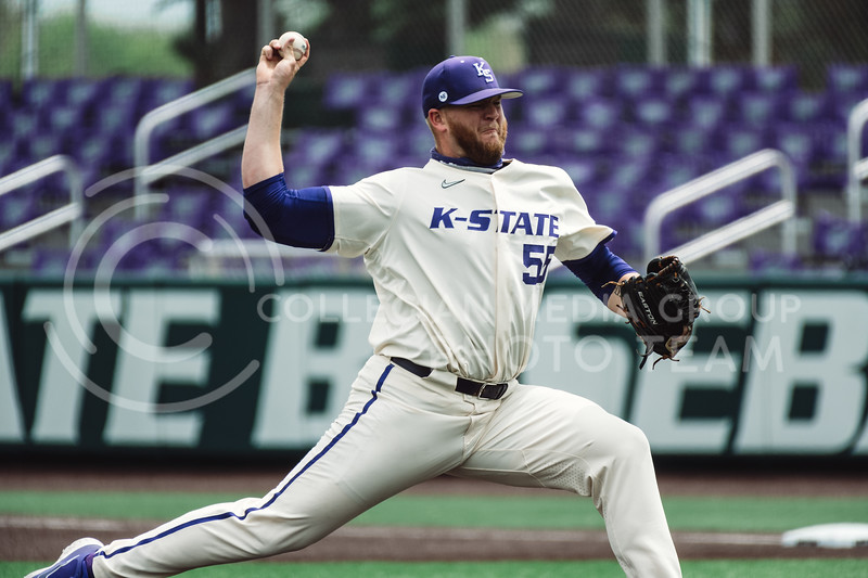 K-State's pitcher, Kasey Ford, pitched k the first three innings, ending his night with five strikeouts and no walks. The Wildcats pulled a 16-1 win over the Tigers at Tointon Family Stadium, Manhattan KS. 5/2/21. (Dylan Connell | Collegian Media Group)
