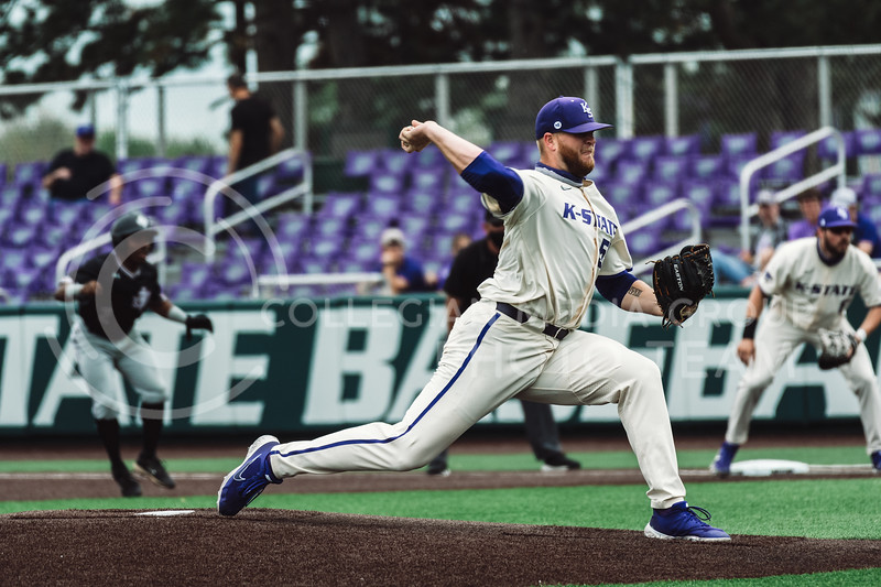 K-State's pitcher, Kasey Ford, pitched through the first three innings, ending his night with five strikeouts and no walks. The Wildcats pulled a 16-1 win over the Tigers at Tointon Family Stadium, Manhattan KS. 5/2/21. (Dylan Connell | Collegian Media Group)