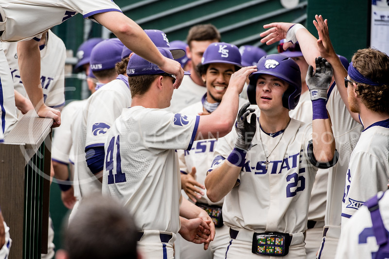 K-State's hitter, Nick Goodwin, ended the night with a two-hit performance against Texas Southern. The Wildcats pulled a 16-1 win over the Tigers at Tointon Family Stadium, Manhattan KS. 5/2/21. (Dylan Connell | Collegian Media Group)