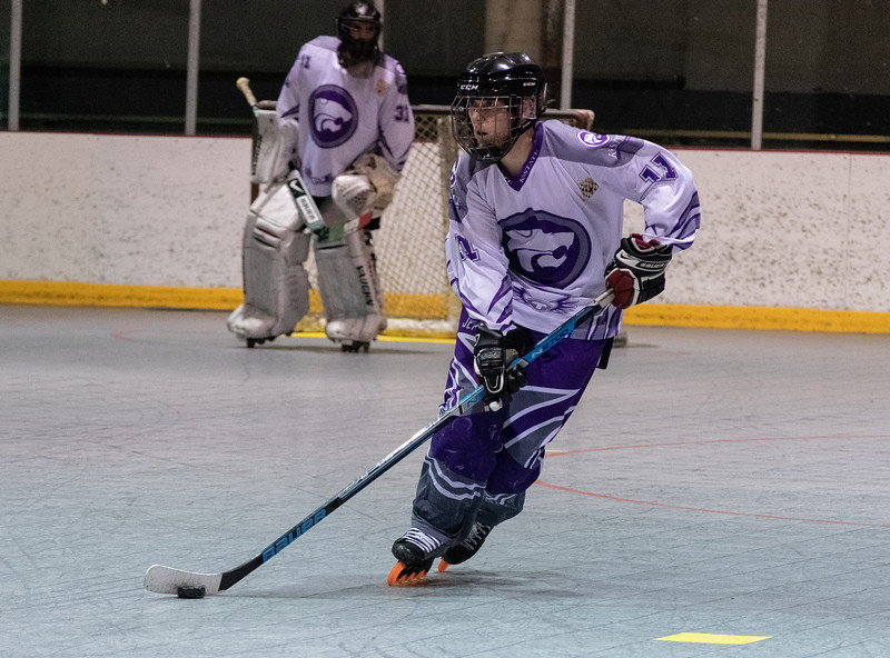 David Jacobson, a senior forward, sprints down the rink to the opposing teams net. The K-State inline hockey team defeated Denver 7-3 and captured the conference title on Feb. 23 at Queeny Park Hockey Arena in Ballwin, Missouri. (Brooke Barrett | Collegian Media Group)