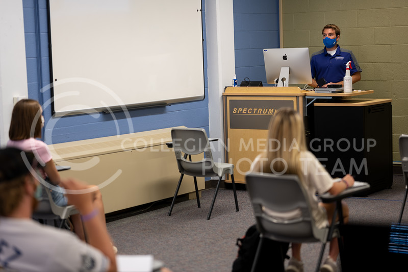Kansas State University lecture taught by A.Q. Miller School of Journalism and Mass Communications professor. The professor and students are shown wearing mandatory masks. August 27, 2020. (Dylan Connell | Collegian Media Group)