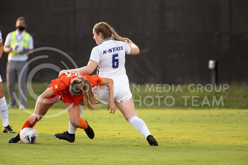 Kansas State University sophomore, Shannon Dukes, defends against OSU. The Wildcats fell to Oklahoma State 0-3 at Buser Family Park on September 13, 2020. (Dylan Connell | Collegian Media Group)
