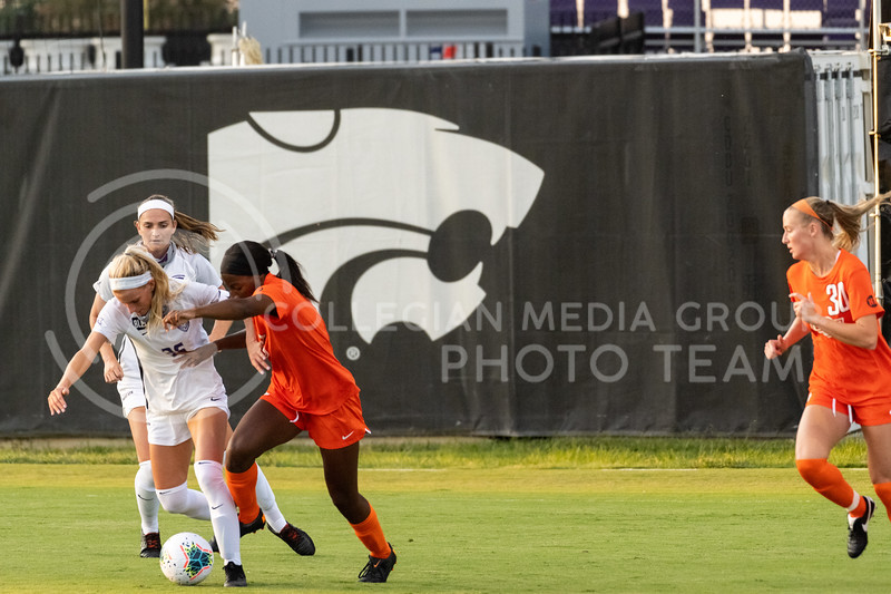 Kansas State University midfielder, Maddie Souder, defends against Oklahoma State University. The Wildcats fell to Oklahoma State 0-3 at Buser Family Park on September 13, 2020. (Dylan Connell | Collegian Media Group)