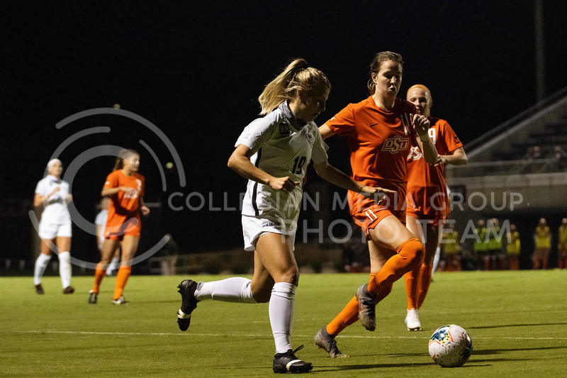 Kansas State University midfielder, Christina Baxter, charges up the field with an attempt to make a late push against OSU. The Wildcats fell to Oklahoma State 0-3 at Buser Family Park on September 13, 2020. (Dylan Connell | Collegian Media Group)