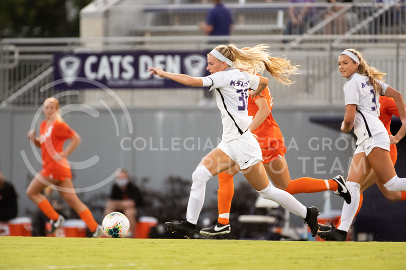 Kansas State University midfielder, Maddie Souder, attacks up the field. The Wildcats fell to Oklahoma State 0-3 at Buser Family Park on September 13, 2020. (Dylan Connell | Collegian Media Group)