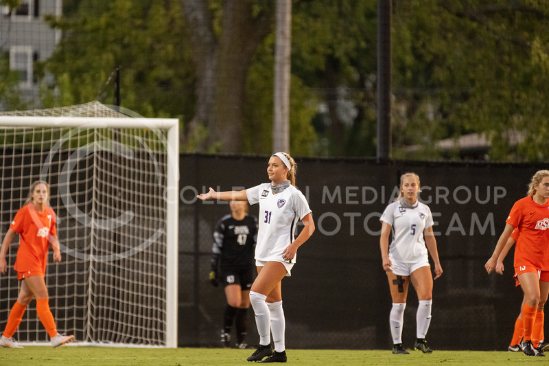 Kansas State University, Avery Green, calls for a foul after a contested strike at OSU. The Wildcats fell to Oklahoma State 0-3 at Buser Family Park on September 13, 2020. (Dylan Connell | Collegian Media Group)