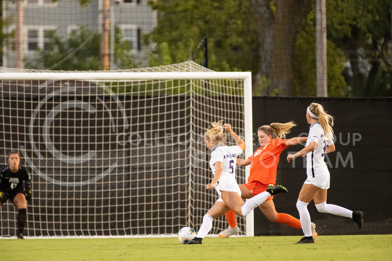 Kansas State University midfielder, Caylee Thornhill, attempts to strike the goal but it blocked by OSU defender. The Wildcats fell to Oklahoma State 0-3 at Buser Family Park on September 13, 2020. (Dylan Connell | Collegian Media Group)