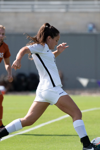 Midfielder Laramie Hall attacking the Longhorns outside defense. Sept 29, 2019. (Dylan Connell | Collegian Media Group)