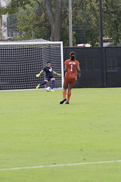 Goal keeper Rachel Harris kicks the ball off at K-State stadium vs the Texas Longhorns. Sept 29, 2019, (Dylan Connell | Collegian Media Group)